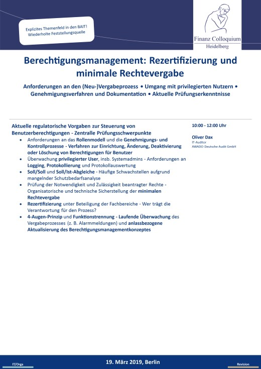 Berechtigungsmanagement Rezertifizierung und minimale Rechtevergabe