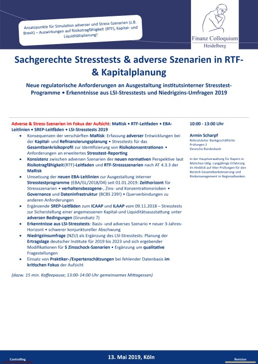 Sachgerechte Stresstests adverse Szenarien in RTF Kapitalplanung