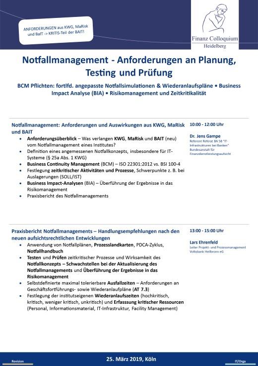 Notfallmanagement Anforderungen an Planung Testing und Pruefung