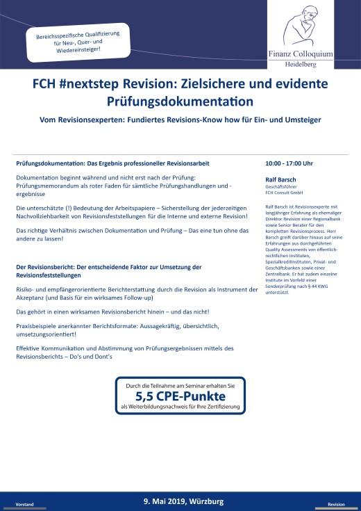 FCH nextstep Revision Zielsichere und evidente Pruefungsdokumentation