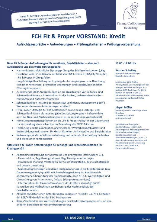 FCH Fit Proper VORSTAND Kredit