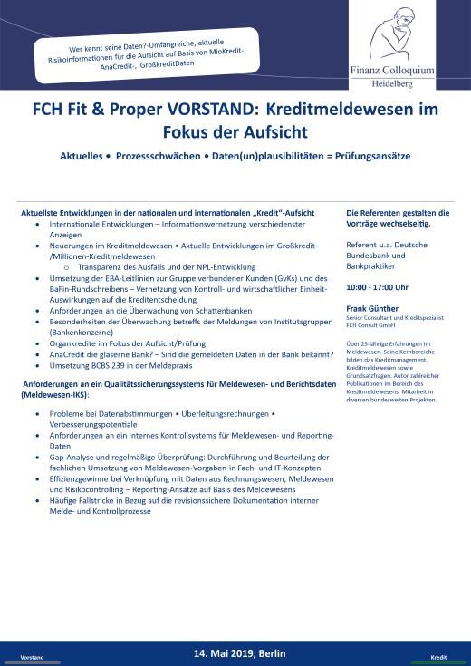 FCH Fit Proper VORSTAND Kreditmeldewesen im Fokus der Aufsicht