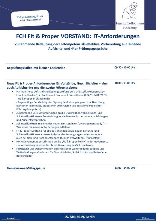 FCH Fit Proper VORSTAND ITAnforderungen