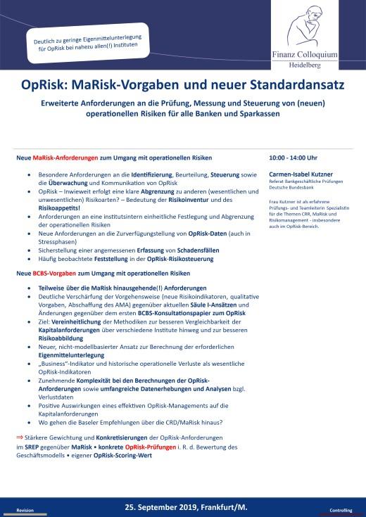 OpRisk MaRiskVorgaben und neuer Standardansatz