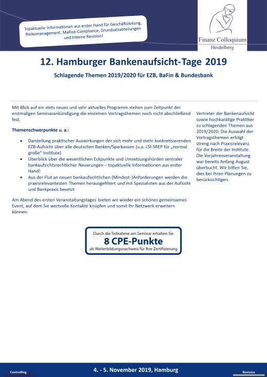 12 Hamburger BankenaufsichtTage 2019