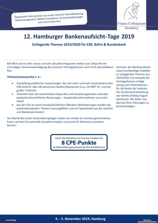 12 Hamburger BankenaufsichtTage 2019