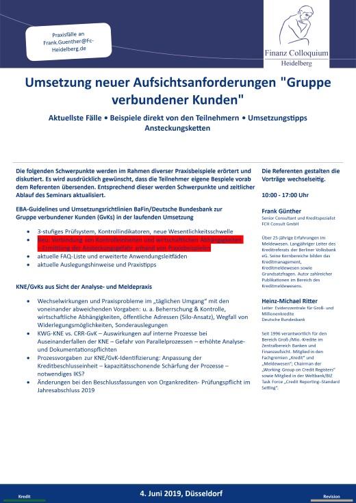 Umsetzung neuer Aufsichtsanforderungen Gruppe verbundener Kunden