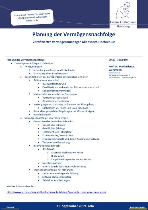 Planung der Vermoegensnachfolge