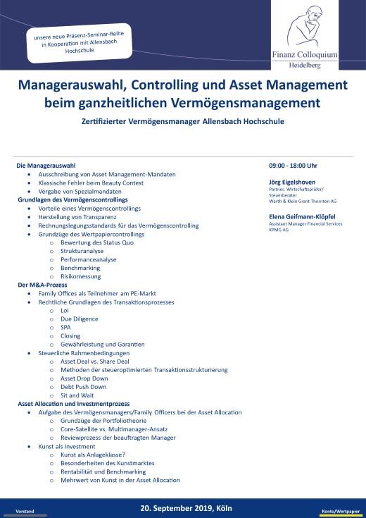 Managerauswahl Controlling und Asset Management beim ganzheitlichen Vermoegensmanagement