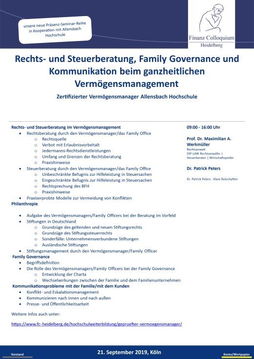 Rechts und Steuerberatung Family Governance und Kommunikation beim ganzheitlichen Vermoegensmanagement