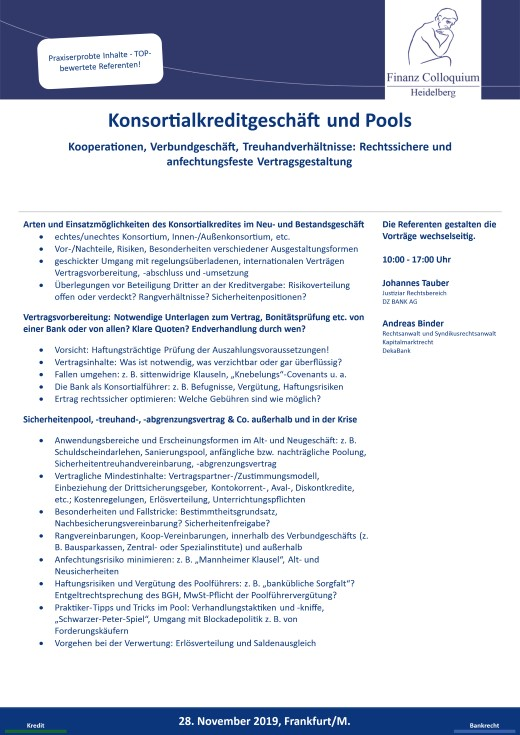 Konsortialkreditgeschaeft und Pools