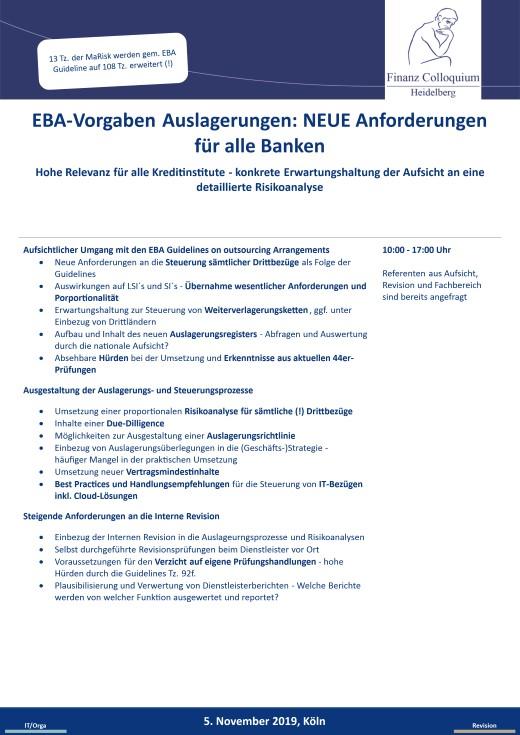 EBAVorgaben Auslagerungen NEUE Anforderungen fuer alle Banken