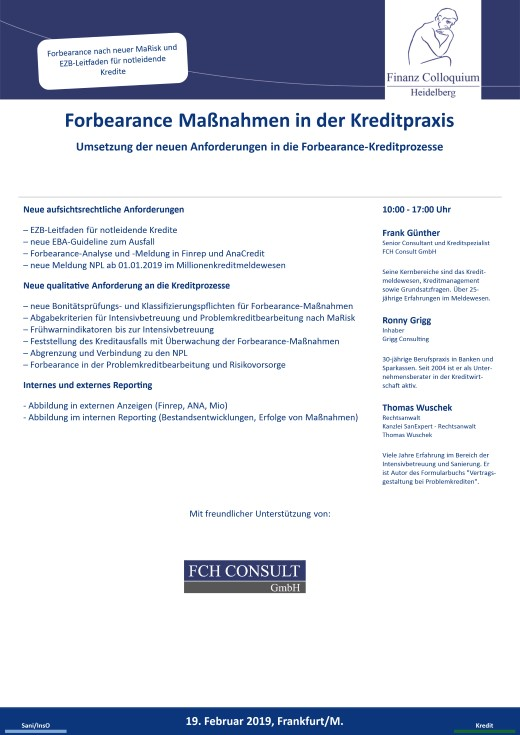 Forbearance Manahmen in der Kreditpraxis