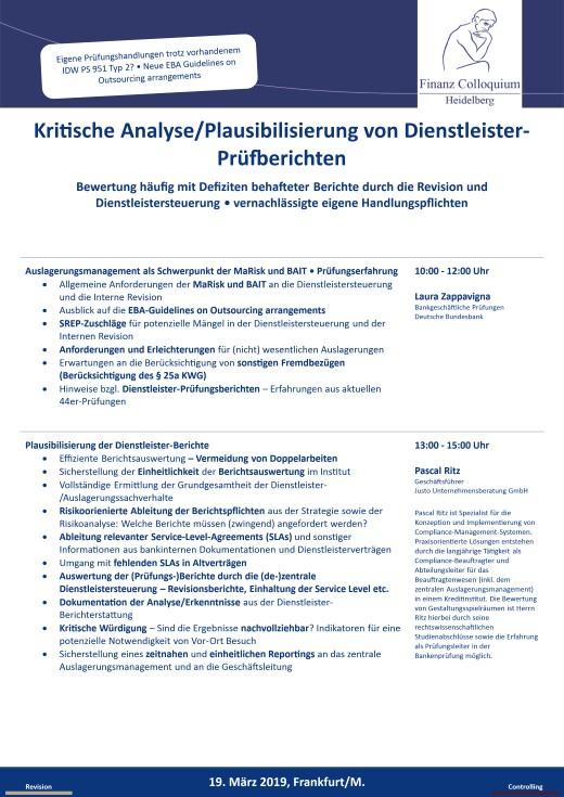 Kritische AnalysePlausibilisierung von DienstleisterPruefberichten