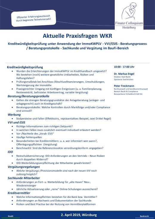 Aktuelle Praxisfragen WKR
