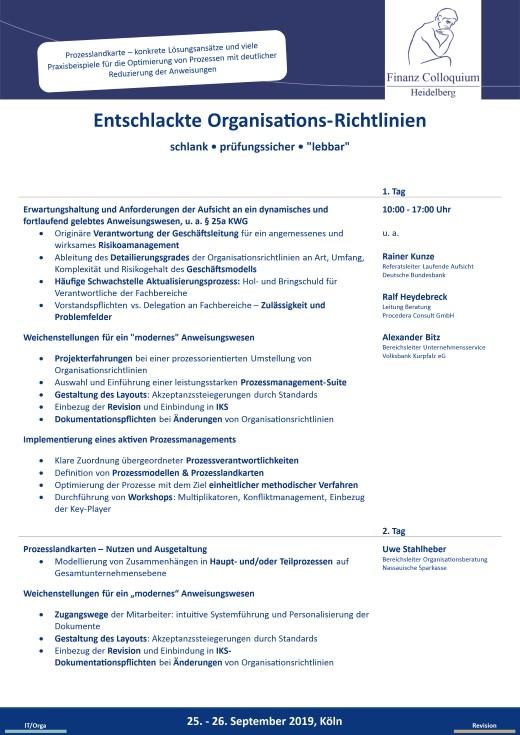 Entschlackte OrganisationsRichtlinien
