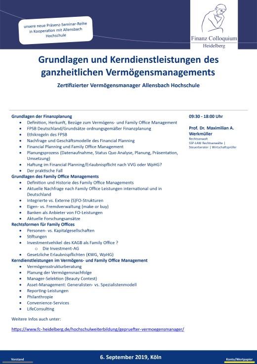 Grundlagen und Kerndienstleistungen des ganzheitlichen Vermoegensmanagements