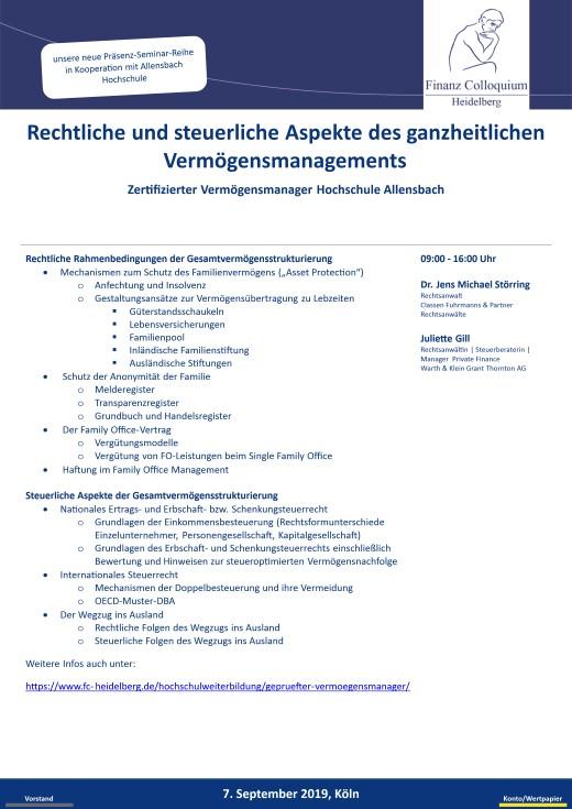 Rechtliche und steuerliche Aspekte des ganzheitlichen Vermoegensmanagements