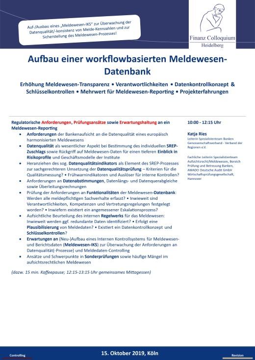 Aufbau einer workflowbasierten MeldewesenDatenbank