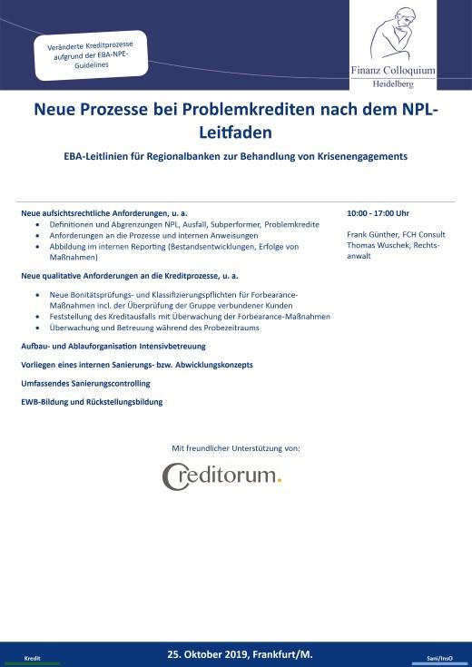 Neue Prozesse bei Problemkrediten nach dem NPLLeitfaden
