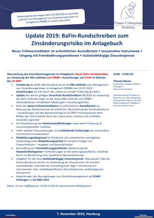 Update 2019 BaFinRundschreiben zum Zinsaenderungsrisiko im Anlagebuch