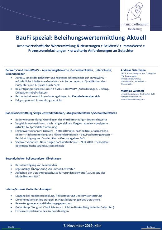 BauFi spezial Beleihungswertermittlung Aktuell
