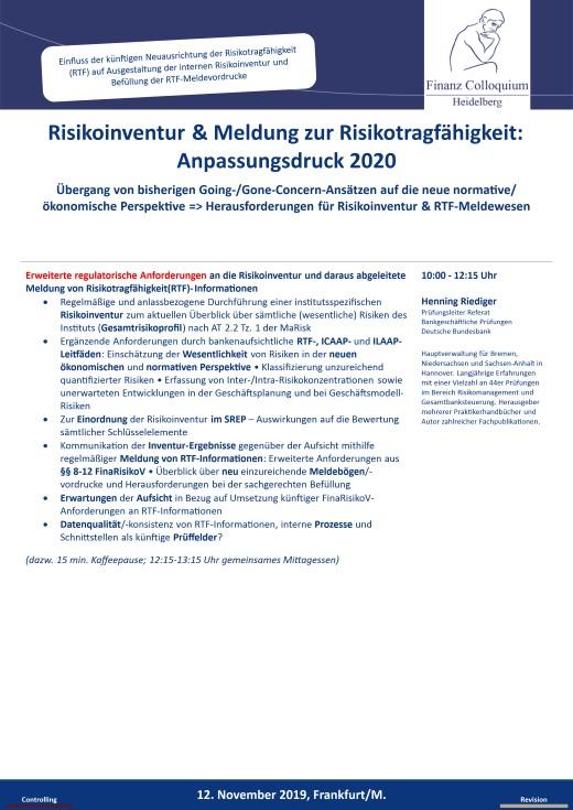 Risikoinventur Meldung zur Risikotragfaehigkeit Anpassungsdruck 2020