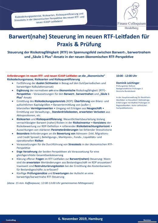 Barwertnahe Steuerung im neuen RTFLeitfaden fuer Praxis Pruefung