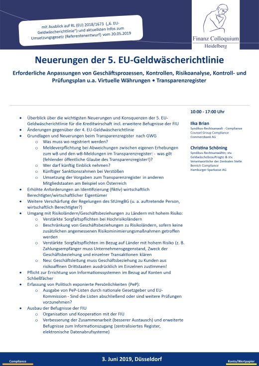 Neuerungen der 5 EUGeldwaescherichtlinie
