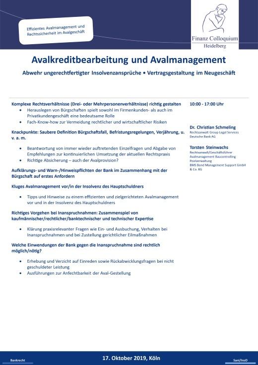 Avalkreditbearbeitung und Avalmanagement