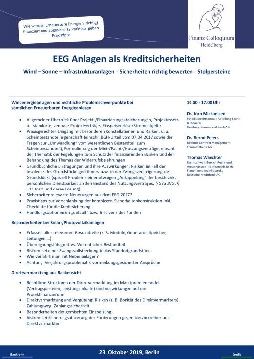 EEG Anlagen als Kreditsicherheiten
