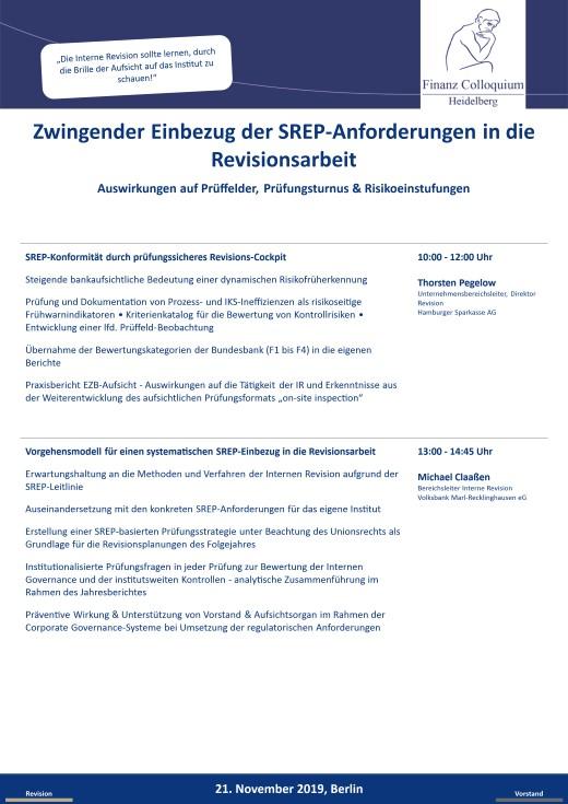 Zwingender Einbezug der SREPAnforderungen in die Revisionsarbeit