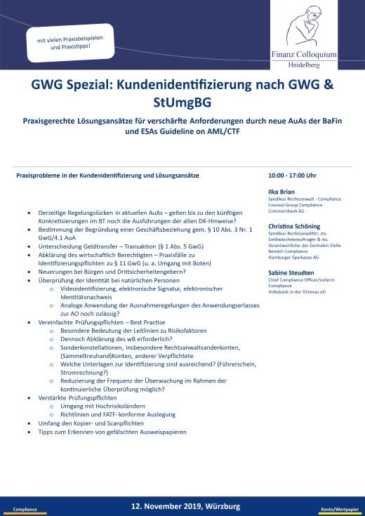 GWG Spezial Kundenidentifizierung nach GWG StUmgBG