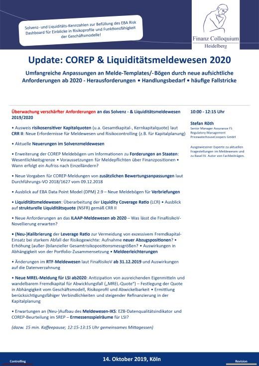 Update COREP Liquiditaetsmeldewesen 2020