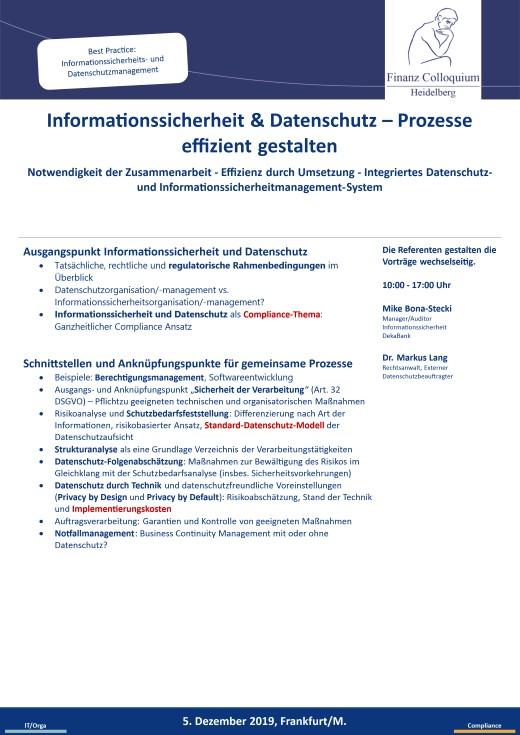 Informationssicherheit Datenschutz Prozesse effizient gestalten
