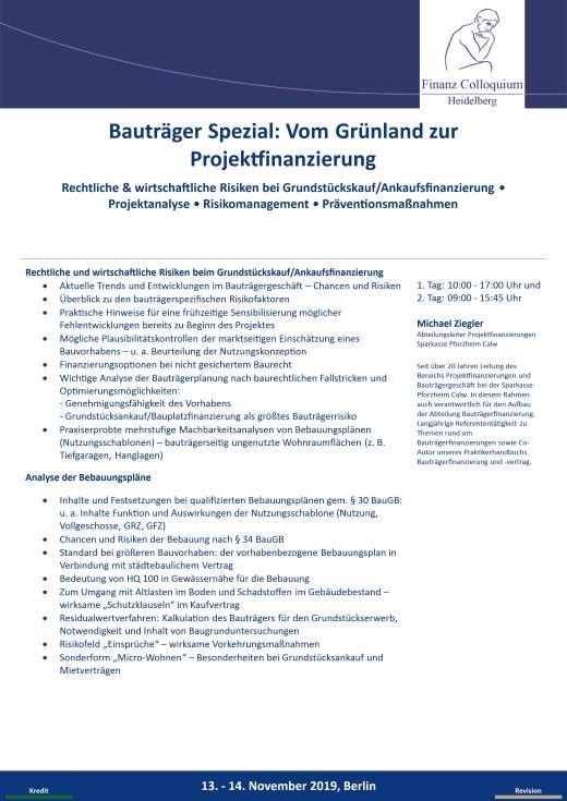 Bautraeger Spezial Vom Gruenland zur Projektfinanzierung