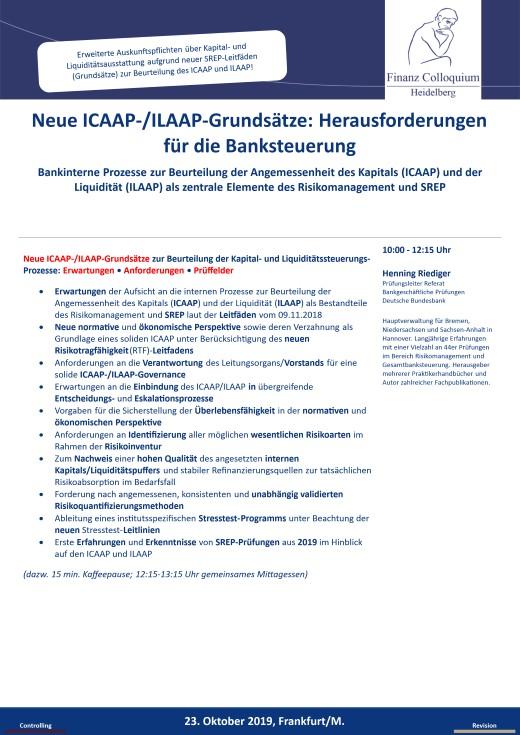 Neue ICAAPILAAPGrundsaetze Herausforderungen fuer die Banksteuerung