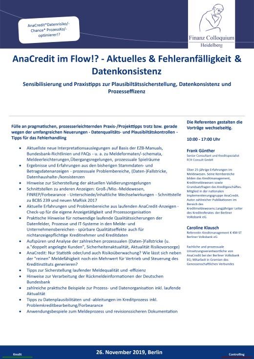 AnaCredit im Flow Aktuelles Fehleranfaelligkeit Datenkonsistenz