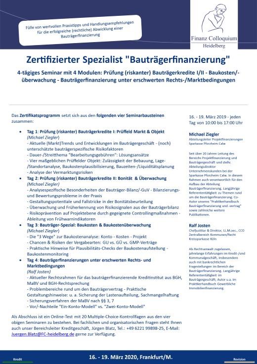 Zertifizierter Spezialist Bautraegerfinanzierung