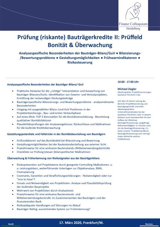 Pruefung riskante Bautraegerkredite II Prueffeld Bonitaet Ueberwachung