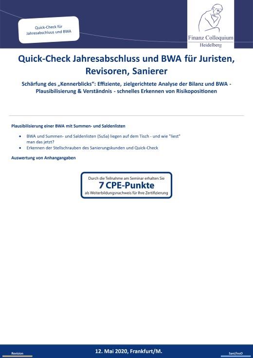 QuickCheck Jahresabschluss und BWA fuer Juristen Revisoren Sanierer