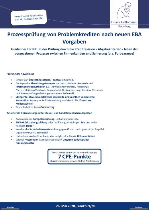 Prozesspruefung von Problemkrediten nach neuen EBA Vorgaben
