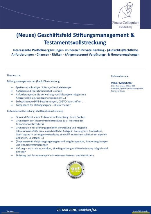 Neues Geschaeftsfeld Stiftungsmanagement Testamentsvollstreckung