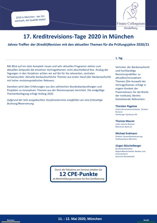17 KreditrevisionsTage 2020 in Muenchen