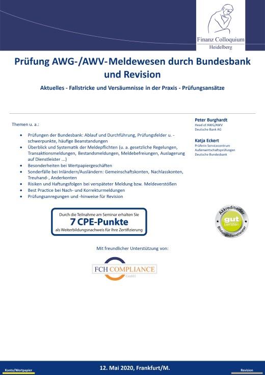 Pruefung AWGAWVMeldewesen durch Bundesbank und Revision