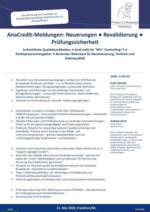 AnaCreditMeldungen Neuerungen Revalidierung Pruefungssicherheit