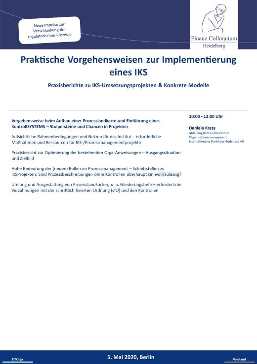 Praktische Vorgehensweisen zur Implementierung eines IKS