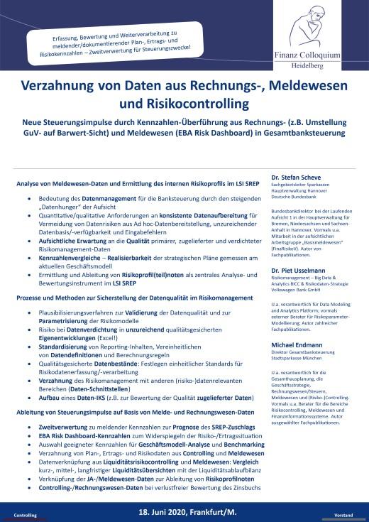 Verzahnung von Daten aus Rechnungs Meldewesen und Risikocontrolling