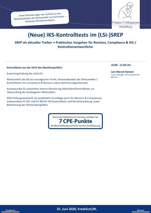 Neue IKSKontrolltests im LSISREP