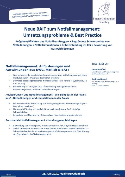 Neue BAIT zum Notfallmanagement Umsetzungsprobleme Best Practice